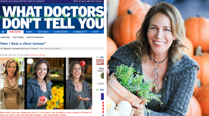 "Photo of Beth Greer and her article, ""How I Beat a Chest Tumour"" in ""What Doctors Don't Tell You"" Magazine"