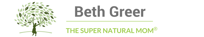 "Logo for Beth Greer aka The Super Natural Mom®, an award-winning journalist, healthy home expert and bestselling author of ""Super Natural Home"""