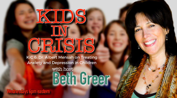 Image: Kids in Crisis Episode 6: Beth Greer speaks to Albert Mensah MD on understanding and treating the root biochemical causes of anxiety and depression in children using a nutritional protocol.