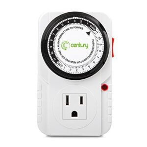 Century 24 Hour Plug-in Mechanical Timer Grounded, Accurate Heavy Duty, 3-Prong